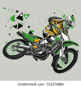 Motocross rider with a graphic trail