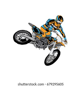 motocross rider jump with flag design vector illustration