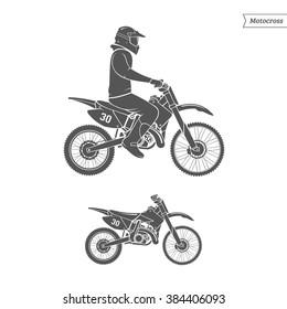 Motocross rider on white background. Vector Illustration.