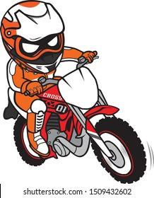 Motocross Rider Ride Motorcycle Cartoon Style
