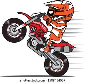 Motocross Rider Wheelie a Dirt Bike in Cartoon Style