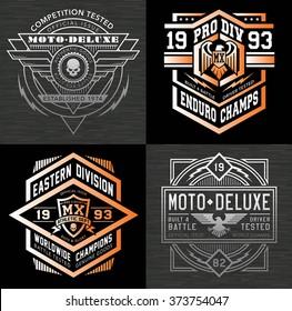 Motocross sport emblem graphic set