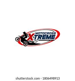 Motocross sport logo template. Sport badge logo vector