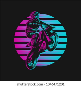 Motocross Sunset Retro Vector illustration