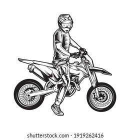 Motocross Vector Illustration, lineart motocross