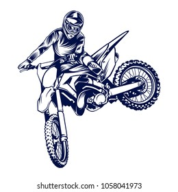 Motocross vector illustration on white background