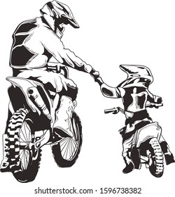 Motocross Vector ink - Dad and son motocross best friend for life