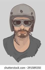 motor biker man illustration