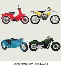 Motor bikes image design set.