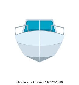 Motor boat front view. Clipart image isolated on white background