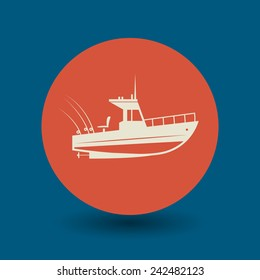 Motor boat icon or sign, vector illustration