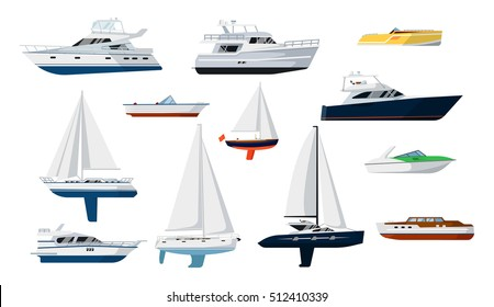 Motor boat and sail boat side view set vector icon. Ship, pleasure boat, speed boat, vessel, cruise ship, luxury yacht