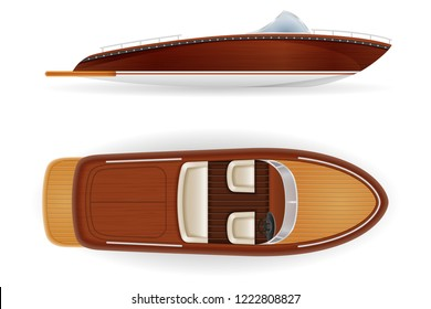 motor boat vintage old retro made of wooden vector illustration isolated on white background