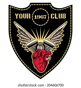 motor club emblem with winged engine vector template