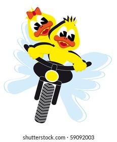 motor duck couple riding on a motor bike