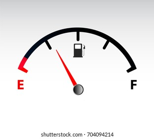 Motor gas gauge. Empty fuel meter vector illustration