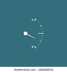 Motor gas gauge icon isolated with long shadow. Empty fuel meter. Full tank indication. Flat design. Vector Illustration