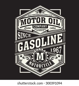 Motor gasoline typography, t-shirt graphics, vectors