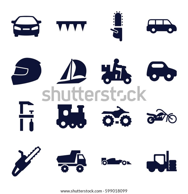 motor icons set. Set of 16 motor filled icons such as forklift, toy car, train toy, car, chainsaw, plowing tool, chain saw, helmet, sport car, motorcycle, sailboat