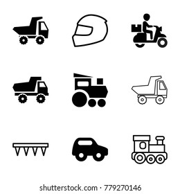 Motor icons. set of 9 editable filled and outline motor icons such as toy car, train toy, plowing tool, helmet