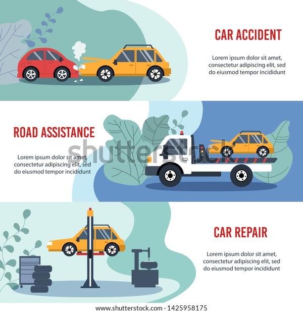 Car Repair Insurance >> Motor Insurance Concept Car Accident Road Stock Vector