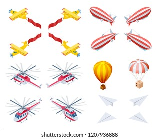 Motor and Lighter than Air Aircraft Isometric Vector Icons Set Isolated on White Background. Airplane with Banner, Air Balloon, Dirigible, Helicopter, Box on Parachute, Paper Plane 3d Illustrations
