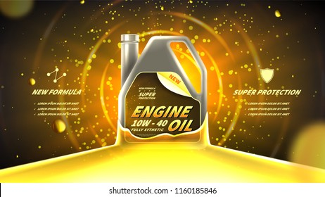 Motor oil advertisement background. Vector illustration with realistic canister and engine oil on bright background. 3d ads template.