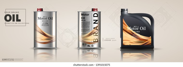 Motor oil canisters and car oil isolated on white background. Auto service and car maintenance concept. Engine oil advertisement background. 3d illustration