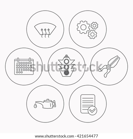 Motor Oil Change Traffic Lights Pliers Stock Vector Royalty Free