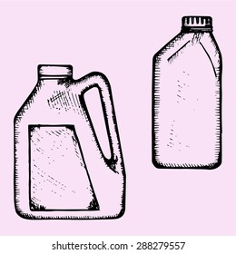 motor oil, plastic bottle, doodle style, sketch illustration
