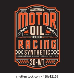Motor oil racing typography, t-shirt graphics, vectors