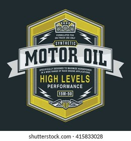 Motor oil typography, t-shirt graphics, vectors