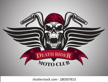 Motor racing skulls,graphic design. logo, Sticker, label, arm