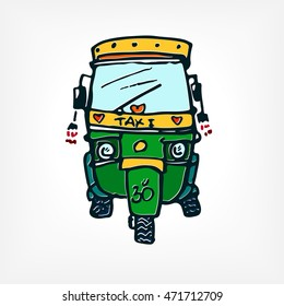Motor rickshaw taxi indian car. Hand drawing tuk tuk illustration