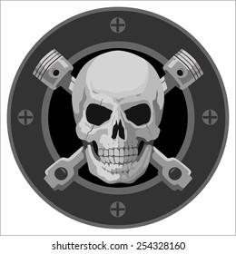 motor Skull Emblem. vector logo graphic