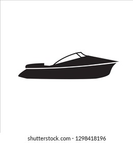 Motor Speed Boat icon in a flat design in black color. Vector