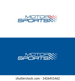Motor sports logo. Dynamic slogan with racing flag. Vector label.