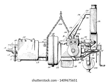 Motor Vehicle Engine is an internal combustion engine in which high temperature and pressure gases produce a combustion, vintage line drawing or engraving illustration.