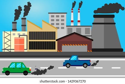 motor vehicle pollution and factories make global warming