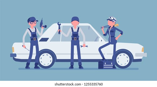 Motor vehicle service or car tune-up station. Young workers in uniform with professional equipment, automobile maintenance procedures and diagnostic business. Vector illustration, faceless characters