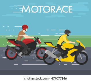 Motorace / vector illustration, concept art shows two motorcyclist going on road / sport / motocross, motor gear