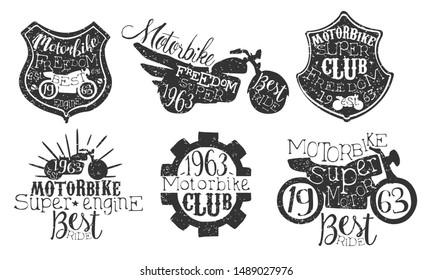 Motorbike Club Retro Labels Set, Super Motor Best Ride Hand Drawn Badges Monochrome Vector Illustration