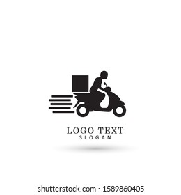 Motorbike Courier & Messenger Logo. Symbol & Icon Vector Template.