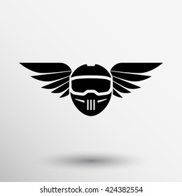 motorbike helmet with wings logo icon sign.