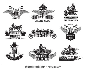 Motorbike illustrations. Logos for bike club. Motorcycle emblem club, motorbike classic chopper vector