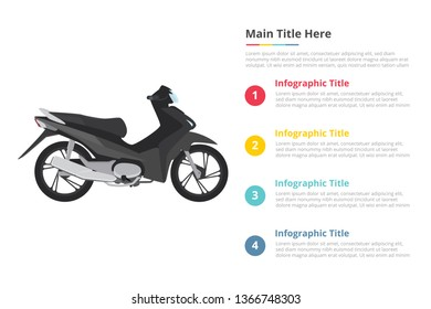 motorbike infographics template with 4 points of free space text description - vector illustration