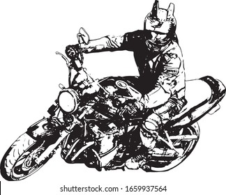 motorbike on the road riding. having fun driving the empty road on a motorcycle tour journey. Motorcyclist Graphic design. T-shirt print. Vector