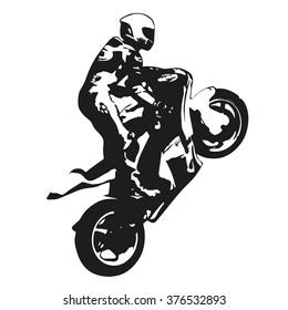 Motorbike racing vector drawing silhouette, moto wheelie