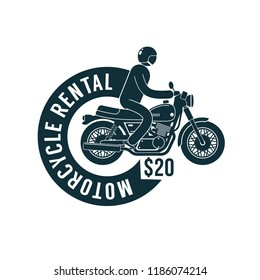 Motorbike rental -  simple logo template with motorcyclist and  ribbon.