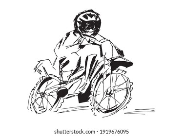 Motorbike rider black and white stretched art illustration